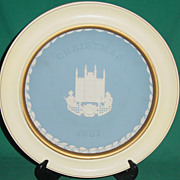 Vintage Wedgwood Jasperware Christmas Plate 1987 Guildhall London with Wood Frame