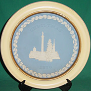 Vintage Wedgwood Jasperware Christmas Plate 1970 Trafalgar Square with Wood Frame