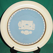 Vintage Wedgwood Jasperware Christmas Plate 1981 Marble Arch with Wood Frame