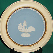 Vintage Wedgwood Jasperware Christmas Plate 1986 Albert Memorial with Wood Frame