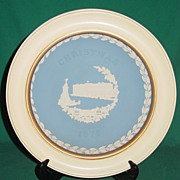 Vintage Wedgwood Jasperware Christmas Plate 1979 Buckingham Palace with Wood Frame