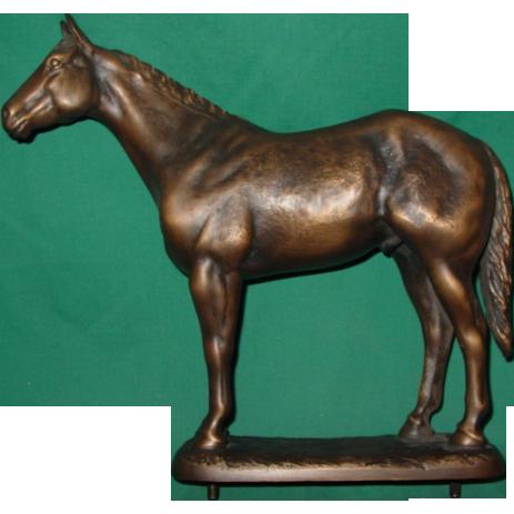 Bronze Horse Artist Signed Suzann Fiedler 1984 Statue Figurine AQHA Presentation Trophy