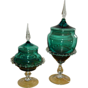 Antique Apothecary Jars Pair Teal Blue Art Glass Pedestal Compote Candy Dish