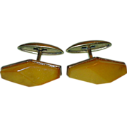 Vintage Art Deco Russian Gold Plate Baltic Amber Cufflinks Natural Authentic