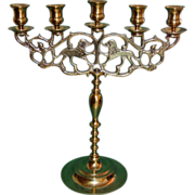 Antique Brass Candelabrum Lion of Judea Sabbath Candelabra 5 Light