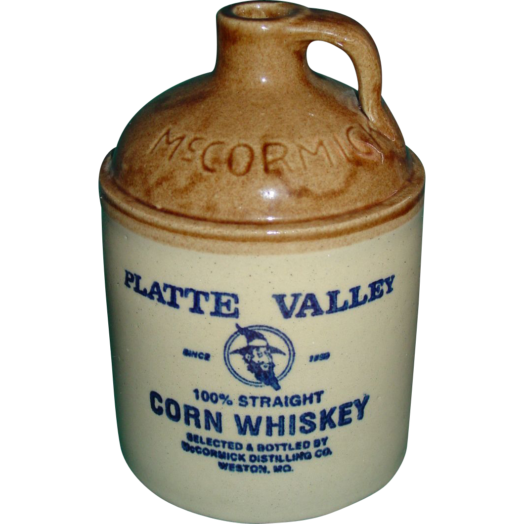 Vintage Whiskey Jug Advertising McCormick Platte Valley Hillbilly Moonshine Stoneware