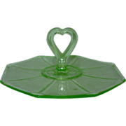 "Vintage Depression Glass Center Handle Green Sandwich Plate 6.75"" Tidbit Tray"