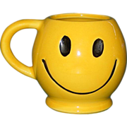Vintage McCoy Smiley Face Coffee Mug Tea Cup USA 1970's Dark Smile - Red Tag Sale Item