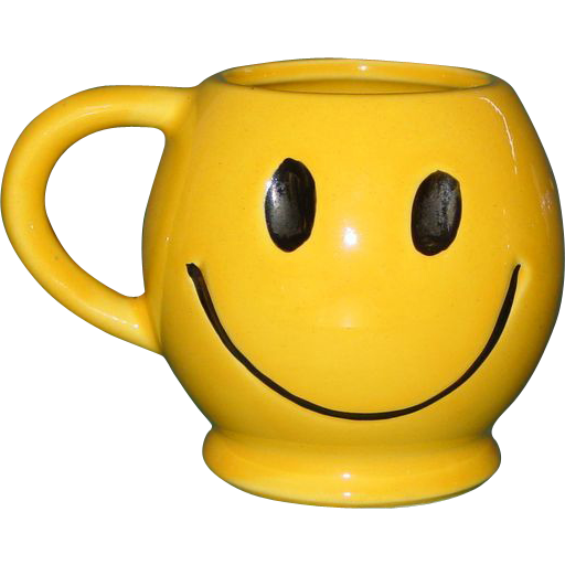 Vintage McCoy Smiley Face Coffee Mug Tea Cup USA 1970's Dark Smile