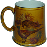 Vintage Stein Old Foley James Kent Beer Mug Birds Quail Pheasant Platinum Rim