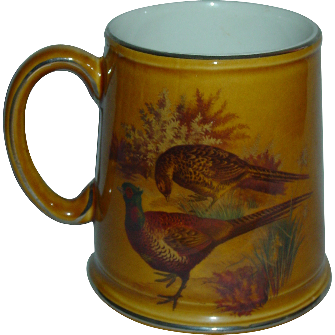 Vintage Stein Old Foley James Kent Beer Mug Birds Quail Pheasant Platinum Rim