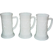 Vintage Federal Milk Glass Beer Stein Lot of 3 Tavern Pub Scene Mugs Barware