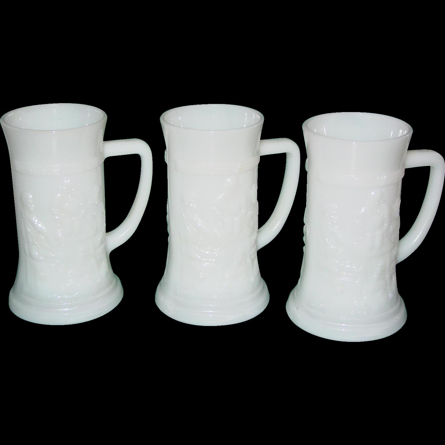Vintage Federal Milk Glass Beer Stein Lot of 3 Tavern Pub Scene Mugs Barware