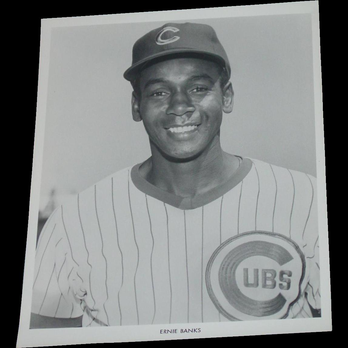 Chicago Cubs 1969 Ernie Banks Baseball Photo Original Press Photograph MLB 8 X 10 BW