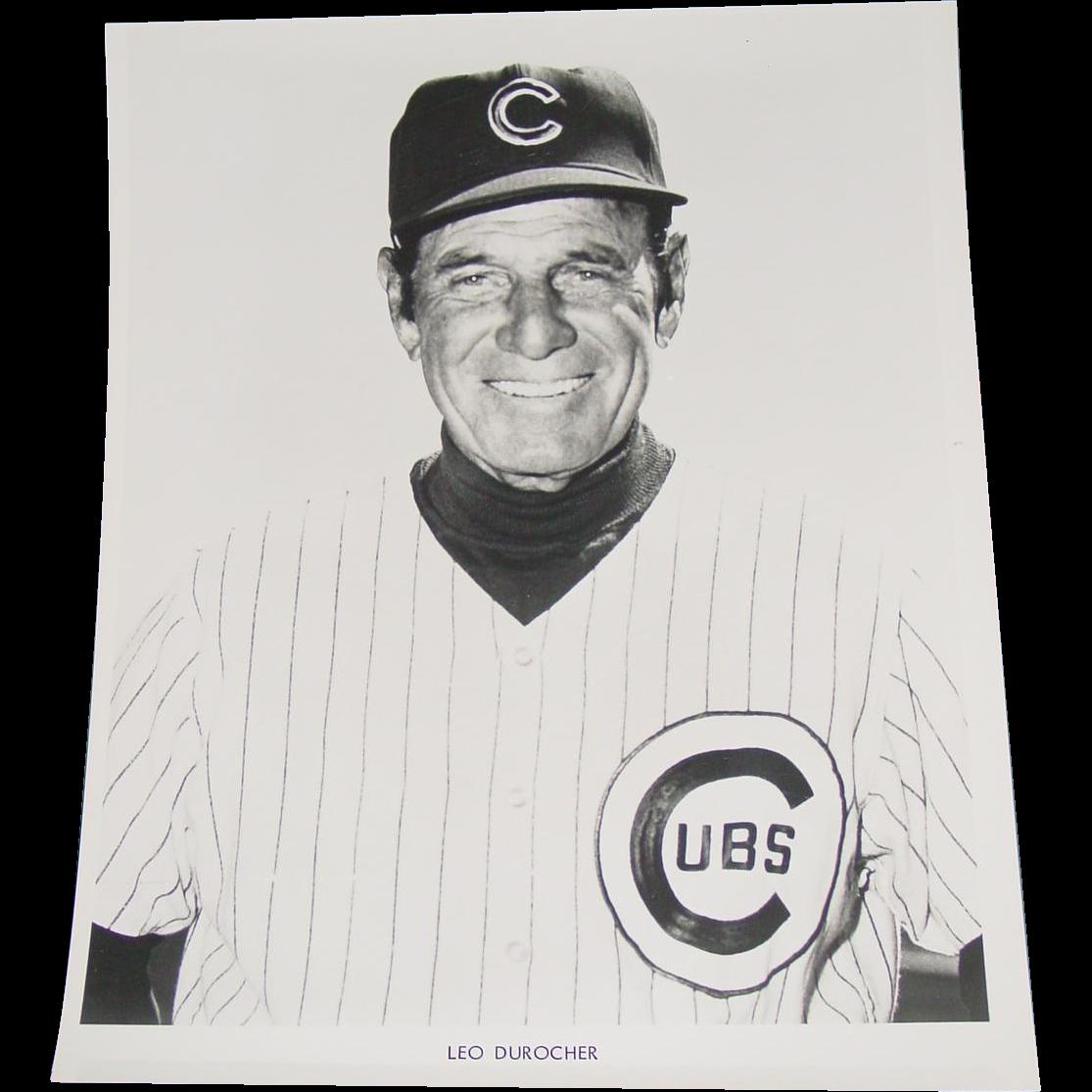 Chicago Cubs 1969 Leo Durocher Baseball Original Press Photograph MLB 8 X 10 BW