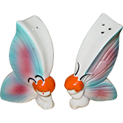 Vintage Butterfly Salt & Pepper Shakers Fairy Pixies Blue Pink Japan Cute