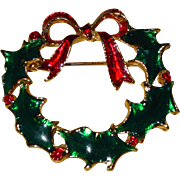 Eisenberg Ice Vintage Holly Leaf Christmas Wreath Brooch Pin