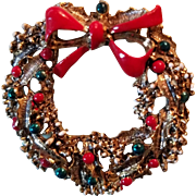 Vintage Christmas Brooch Wreath Pin Gerrys