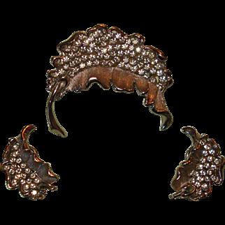 Vintage BSK Wheatsheaf Brooch and Earrings Demi Parure Signed Crystal Rhinestones