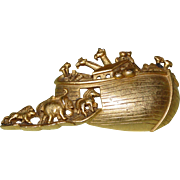 Vintage Noah's Ark Brooch Marked A.J.C American Jewelry Chain Co