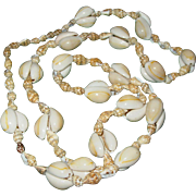 Vintage Natural Sea Shell Necklace Long 18 Inch Drop