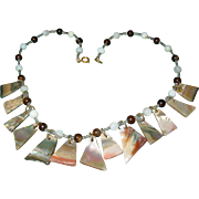 Vintage Mother of Pearl Disc Abalone Necklace Choker