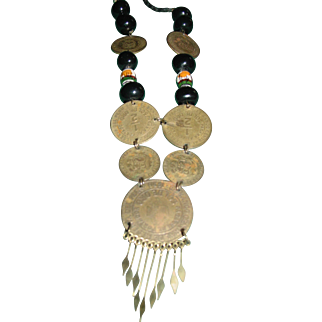 Vintage Necklace Peruvian Brass Coin Pendant Hand Painted Ceramic Beads