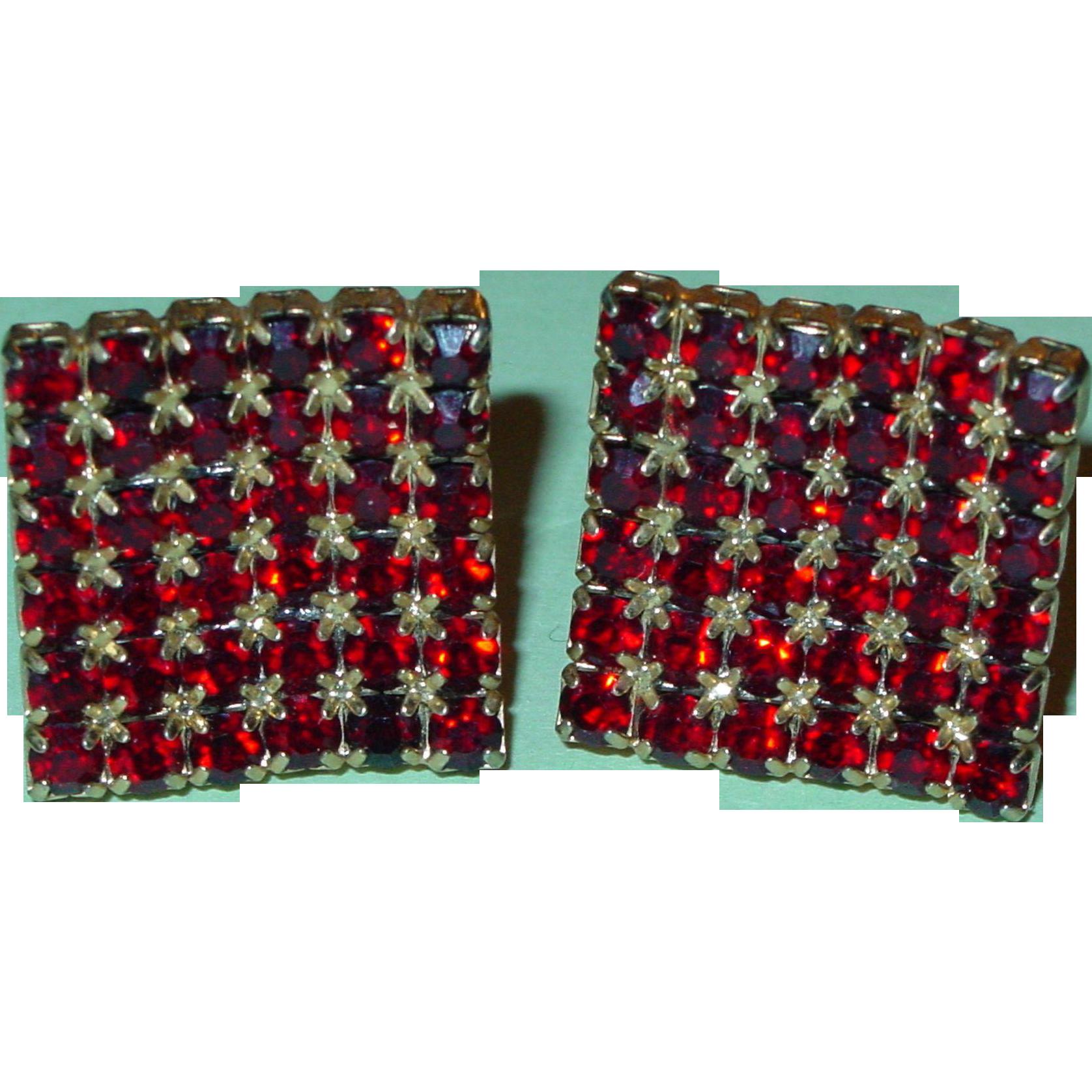 Vintage Cufflinks Ruby Red Rhinestone Square 1961 Fabulous