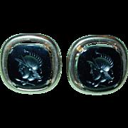 Vintage Cufflinks 1960's Swank Roman Soldier Intaglio Black Glass Gold Tone