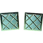 Vintage Cufflinks Square Diamond Etched 1960's