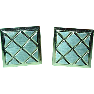Vintage Cufflinks Square Diamond Etched 1960's