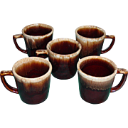 Vintage McCoy Pottery 5 Brown Drip Mugs D Handle Cups