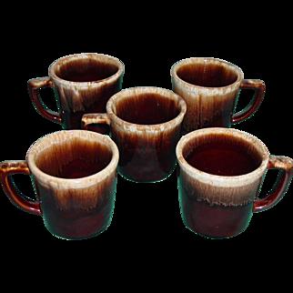 Vintage McCoy Pottery 5 Brown Drip Mugs D Handle Cups