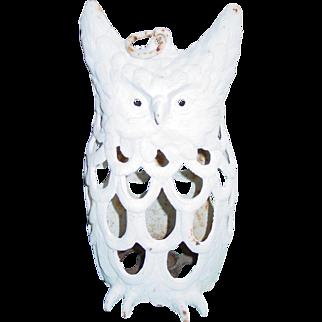 Antique Cast Iron Owl Candle Lantern 1890 to 1914 Garden Figurine