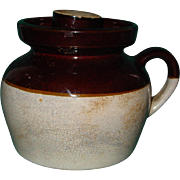 Vintage Stoneware Bean Pot Crock Beanpot Single Handle Lid Brown Glaze
