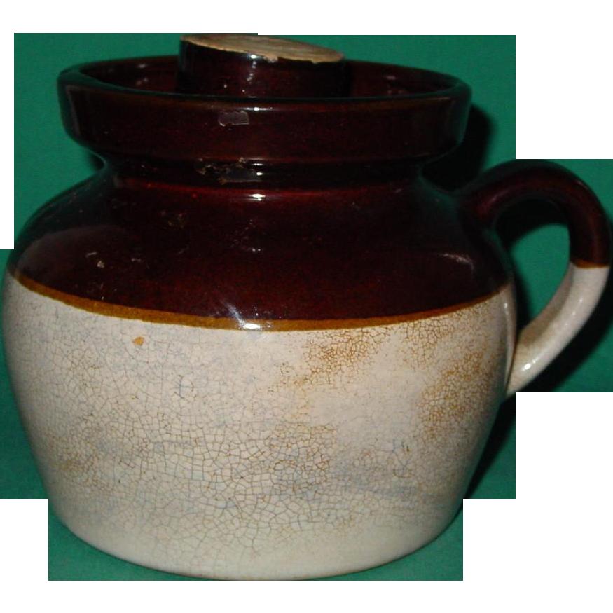 Vintage Stoneware Bean Pot Crock Beanpot Single Handle Lid Brown Glaze