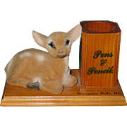 Vintage Wisconsin Dells Wood Desk Souvenir Pens Pencils Flocked Bambi Deer