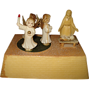 Vintage Christmas Music Box Nativity Angels Silent Night 1950's Hong Kong