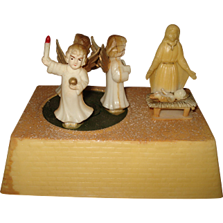 Vintage Christmas Music Box Nativity Angels Silent Night 1950's Hong Kong
