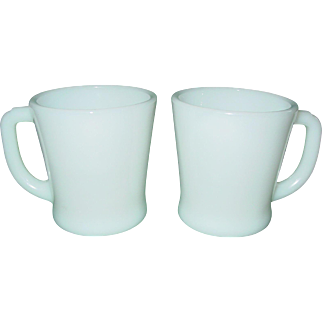 Vintage Fire King 2 Mugs 1950's D Handle Milk Glass White Cups