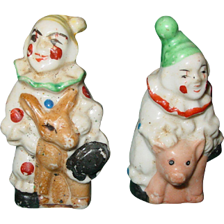 Vintage Salt & Pepper Shakers Clowns Riding Donkey and Pig Early Japan Porcelain