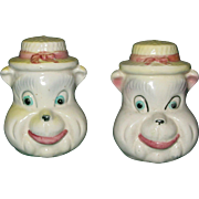 Vintage Bear Head Salt and Pepper Shakers Japan Whimsical Cute