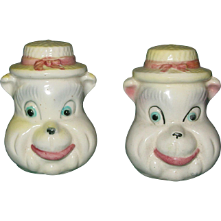 Vintage Bear Head Salt and Pepper Shakers Japan Whimsical Cute