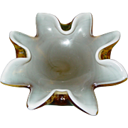 Mid Century Murano Venetian Art Glass Bullicante Cased Yellow and White Star Bowl