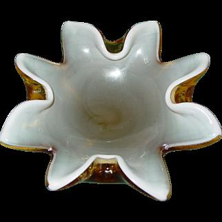 Mid Century Murano Venetian Art Glass Bullicante Cased Yellow and White Star Bowl