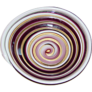 Vintage Murano Venetian Art Glass Cane Swirl Bowl Unique