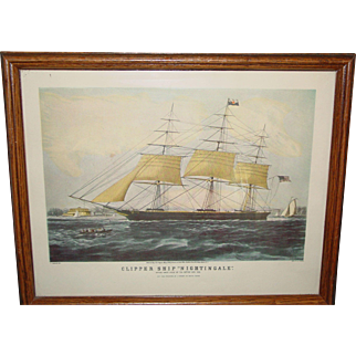 Vintage Lithograph Currier Clipper Ship Nightingale Framed Print C. Parsons Del