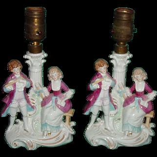 German Antique Porcelain Figurine Table Lamps Boudoir Pair Circa 1879-1886 Mark
