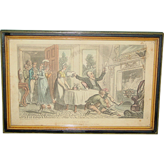 Antique Etching Framed Print Rowlandson 1819 Dr. Syntax Mistakes Gentleman's House for Inn