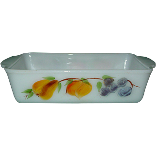 Vintage Fire King Gay Fad Glass Loaf Baking Pan FireKing 1 Quart Qt USA 409